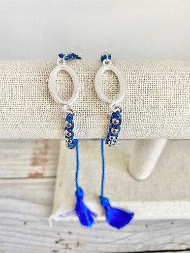 Bright Blue and Silver Slide Bracelet