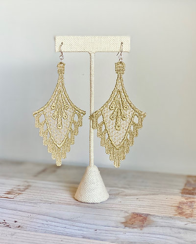 Gold Chandelier Lace Earrings