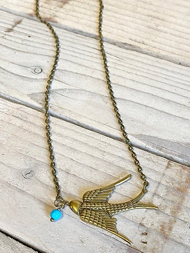 Brass Swallow Necklace