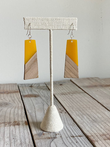 Wood and Yellow Resin Rectangle Earrings