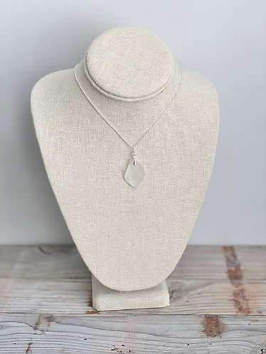 Frosted Clear Sea Glass Pendant Necklace