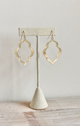 Brushed Brass Open Arabesque Earrings