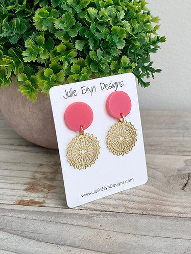 Petite Pink and Brass Stud Earrings