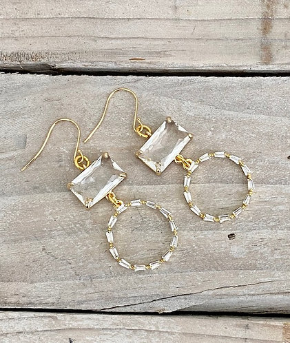 Sparkle Collection -  Rectangle Crystals and Crystal Studded Hoops