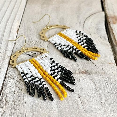 Hand Beaded Earrings - Mustard Seed/Black/White