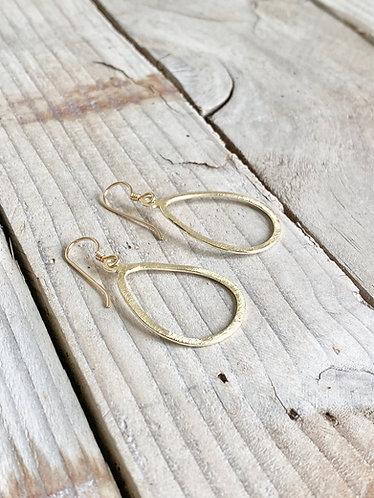 Open Teardrop Brushed Gold Earrings