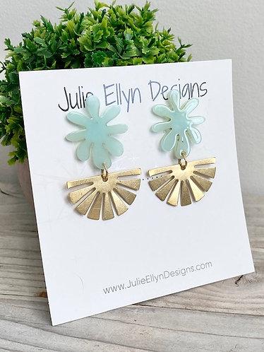Mint Flower and Brass Stud Earrings