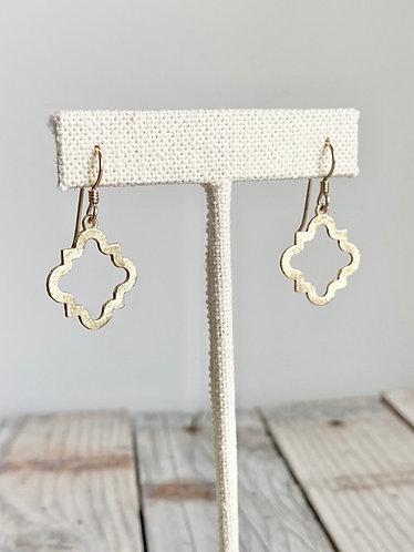 Quatrefoil Brushed Gold Earrings