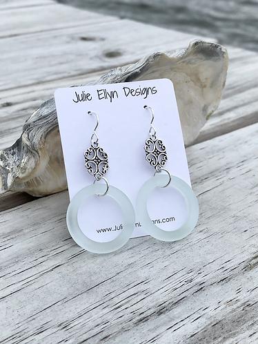 Light Aqua Sea Glass Ring Earrings