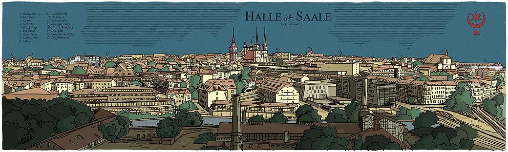 Panoramaansicht von Halle Saale