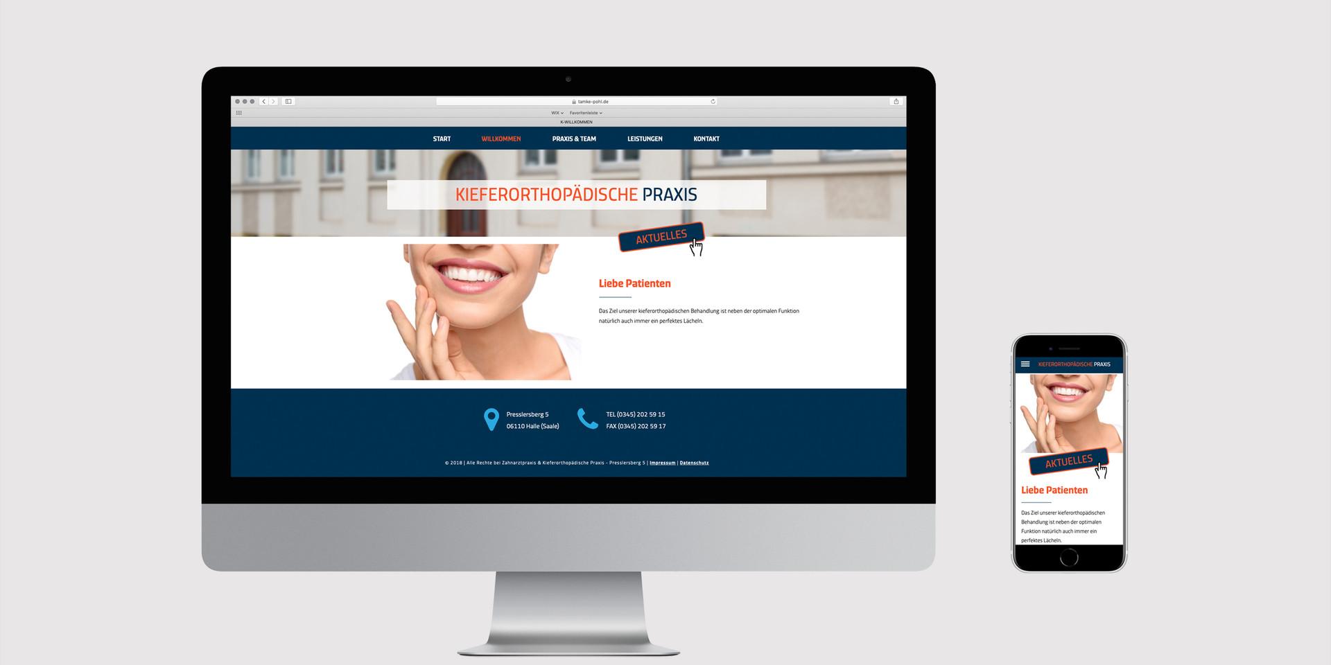 Internetseite Zahnarztpraxis