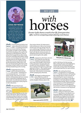 An interview in Horse & Rider magazine with Lydia Heyward in which she speaks about how exciting it was to be interviewed on The Pony Podcast