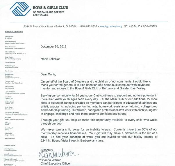 Letter from BGC of Burbank