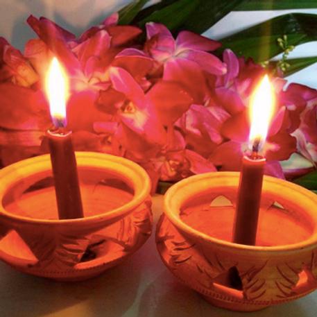 เทียนพลังแสงออร่าสีม่วง-จักระที่ 7 (Crown Chakra)-Antik's aura candles