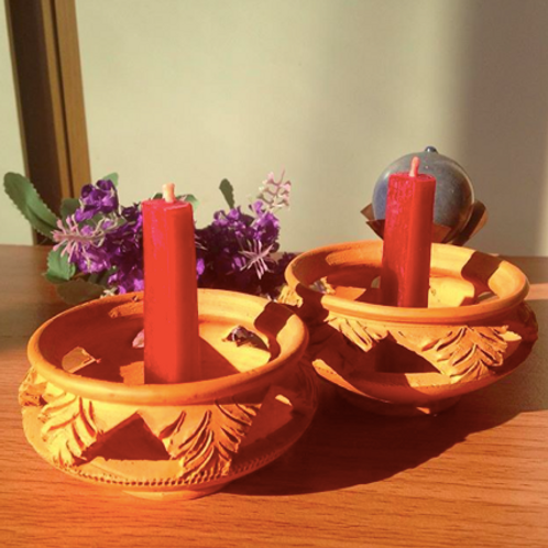 เทียนพลังแสงออร่าสีแดง-จักระที่1 (Root Chakra)-Antik's aura candles