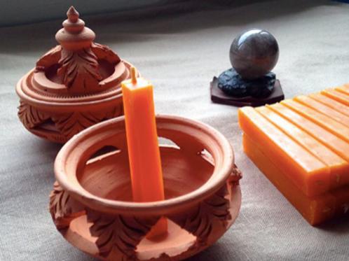 เทียนพลังแสงออร่าสีส้ม-จักระที่2 (Sacral Charkra)-Antik's aura candles