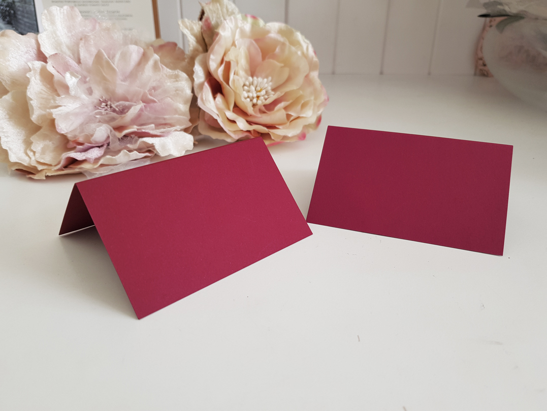 Blank Burgundy Place cards Dark Red name