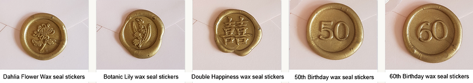 Double happiness wax seal stickers, 50th birthday wax seal stickers, 60t birthday wax seal stickers