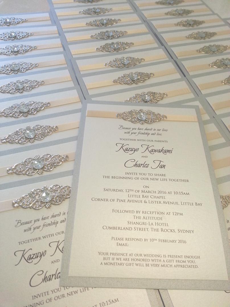 Classic Elegant Unique Silver and Beach diamantes bling Wedding Invitations Sydney.jpg