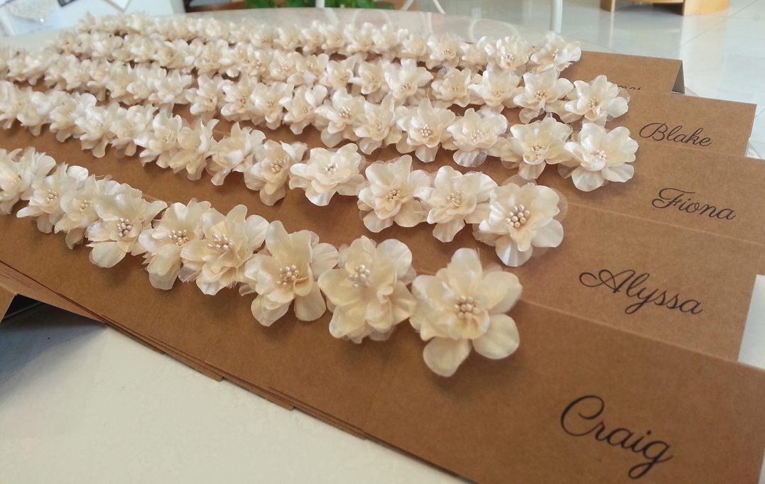 Rustic silk flower Place cards Name card