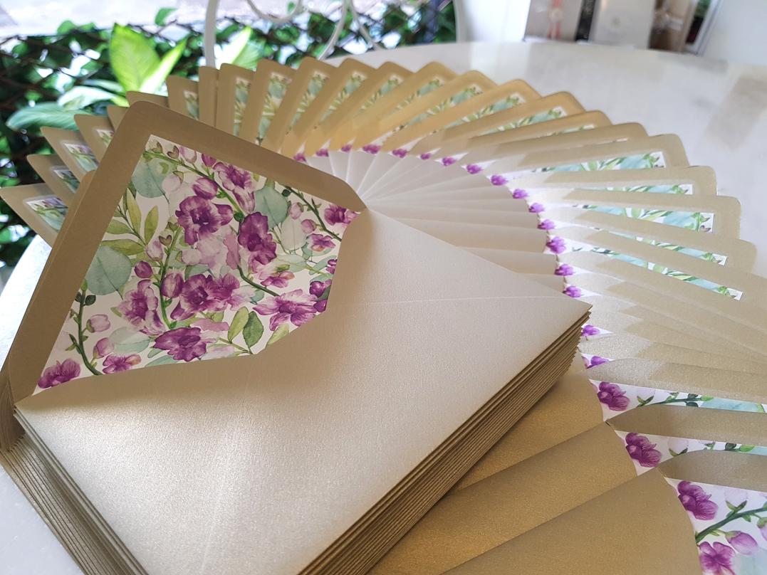Custom Envelope liners lining Sydney Australia Floral Purple Flower