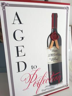 70th Birthday card Invitation Sydney with Wine bottle wax seal.jpg
