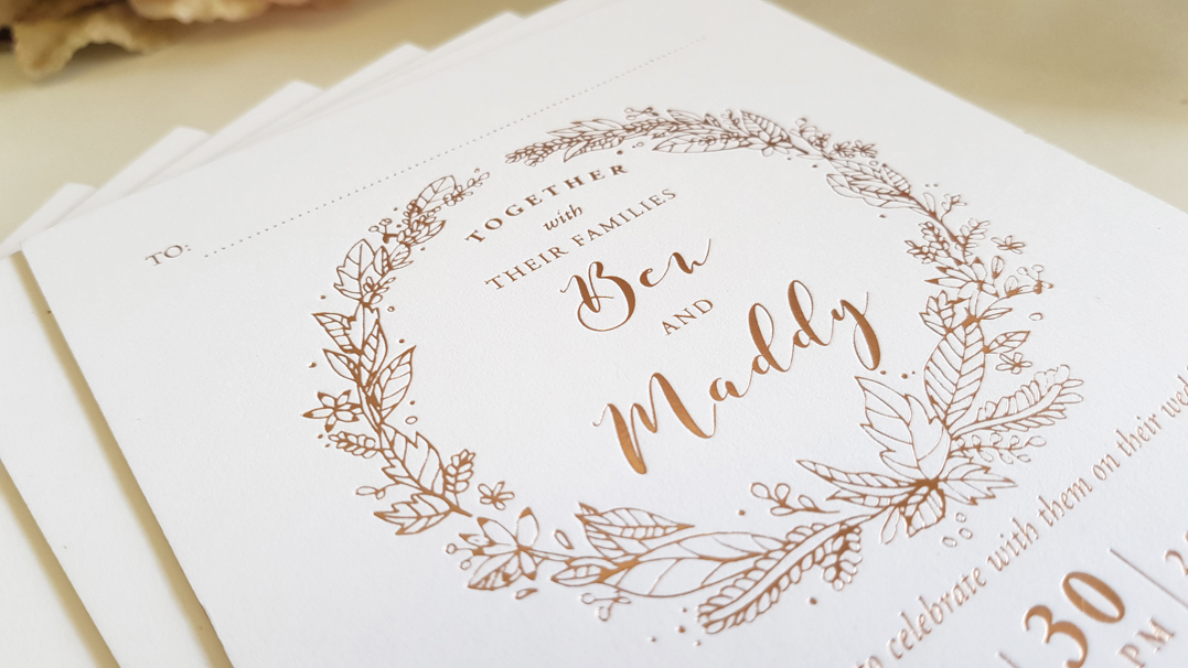 Thick Rose gold Foil Wedding Invitations Sydney Australia