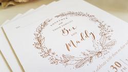 Thick Rose gold Foil Wedding Invitations Sydney Australia