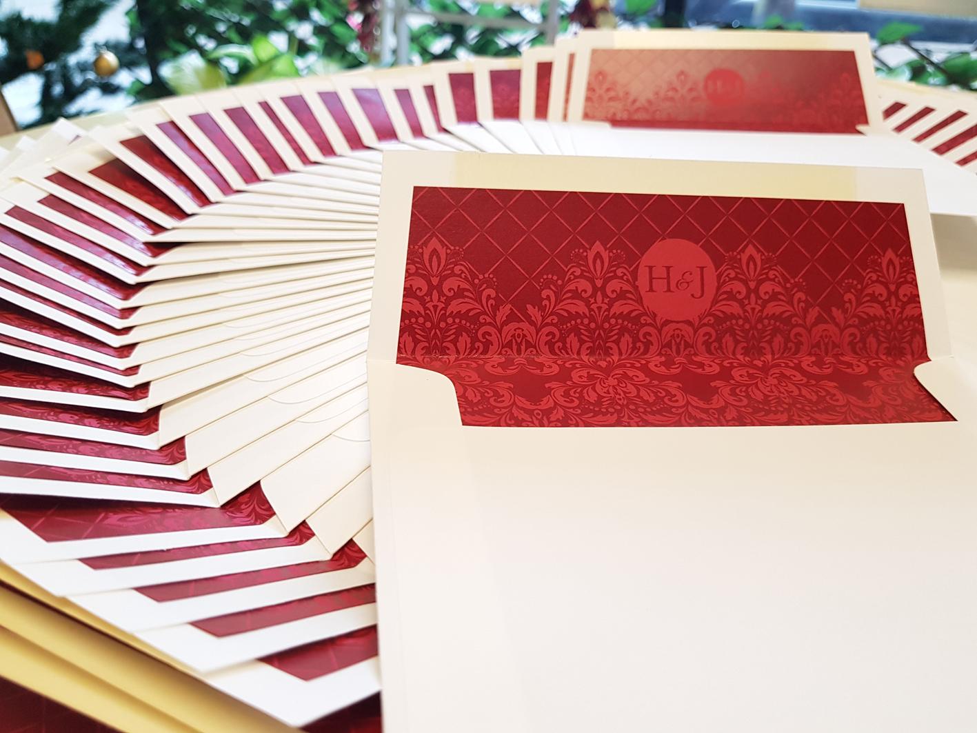 Wedding Custom design and print envelope lining Sydney Australia