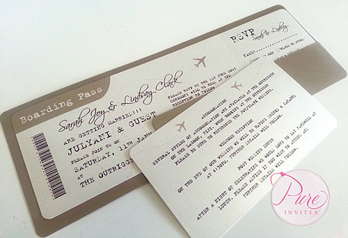 Boarding Pass Wedding Invitations Australia