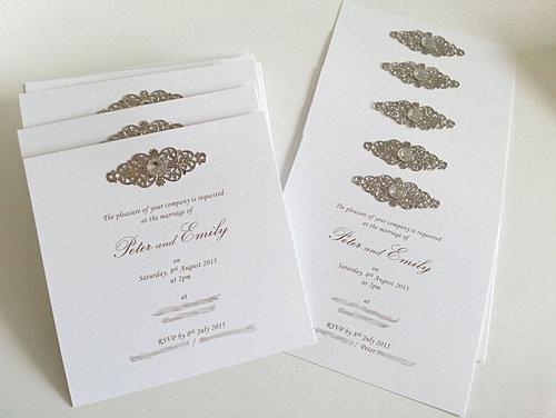 Flat Square Dimantes Wedding Invitations Sydney Jpg