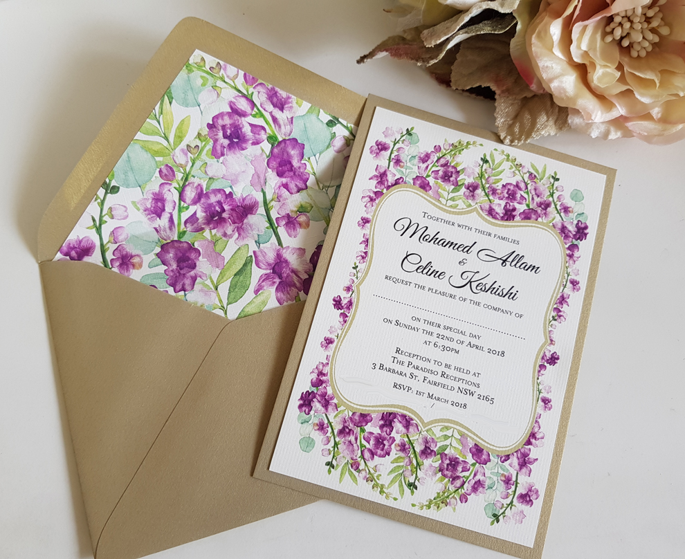 Purple flower Floral Wedding invitation with envelope lining Sydney Australia