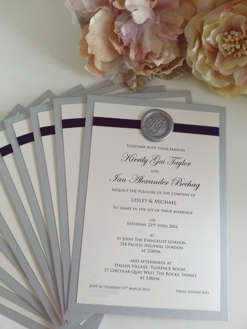 Silver Wax Seal Monogram Initials Clic Wedding Invitations Sydney Jpg