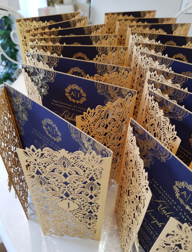 Lasercut Wedding Invitation Sydney Gold and Navy Blue Premium Unique Wedding invitations.jpg
