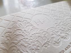 Blind Deboss White Beautiful Elegant wedding invitations Sydney Australia Emboss