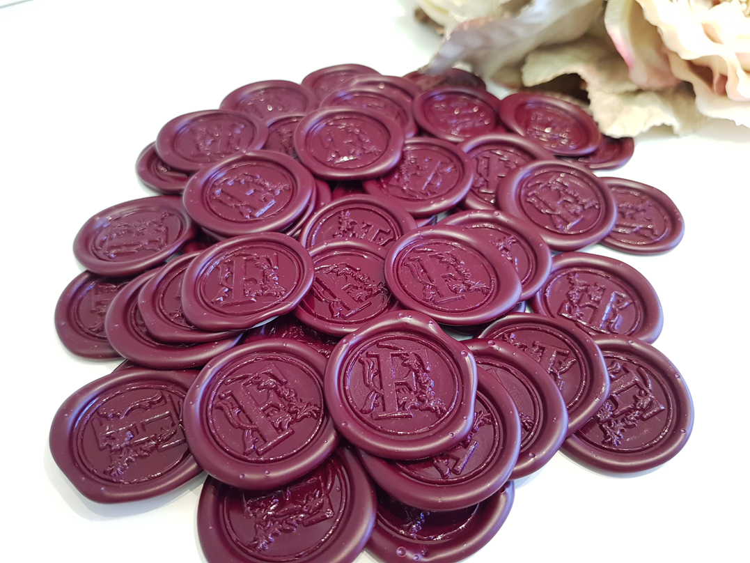 Wax seal sticker Burgundy wine red