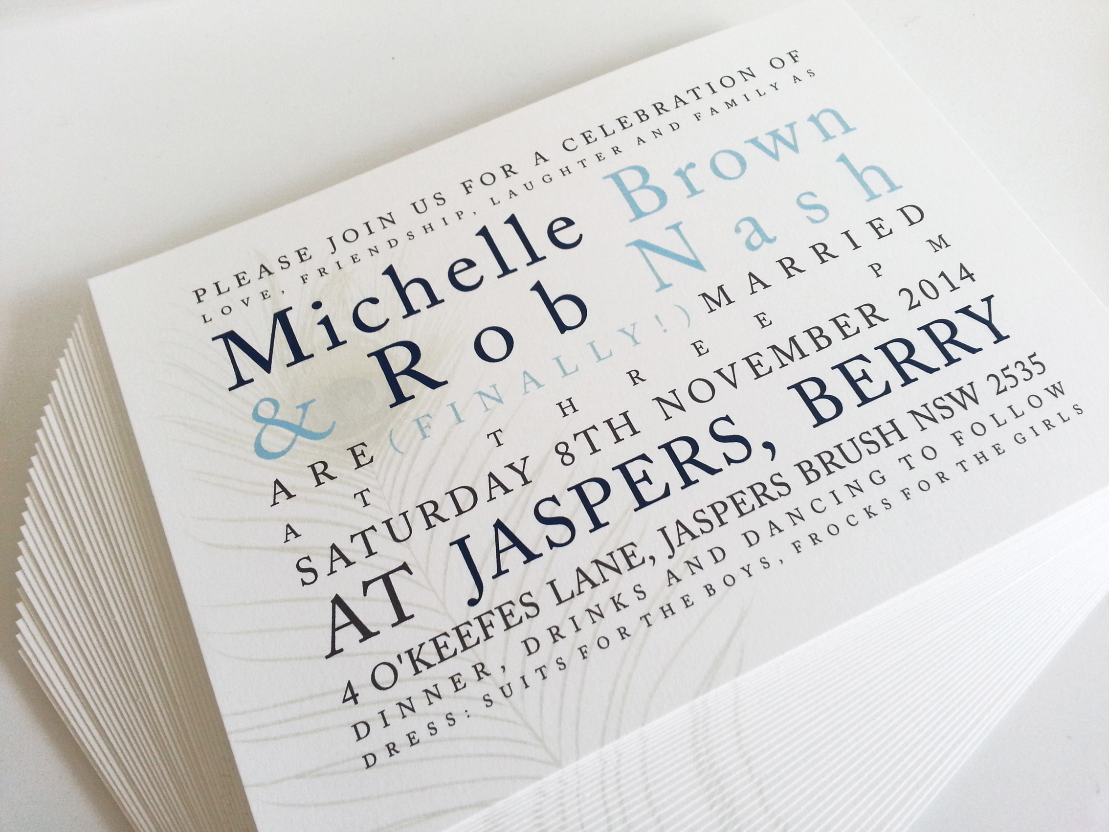 Spread out contemporary text wedding invitation.jpg