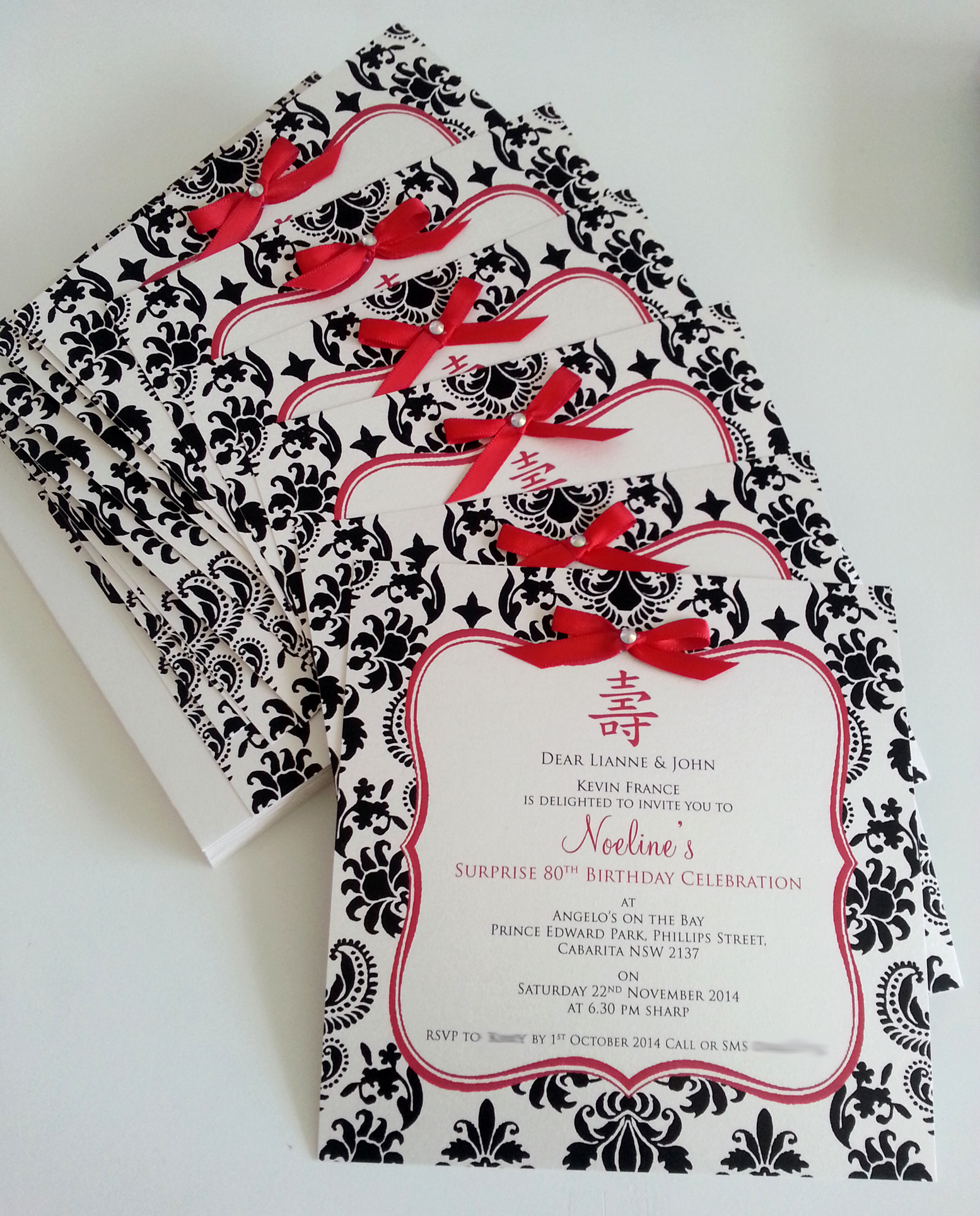 Longevity 80th Birthday invitation with black and red damask.jpg