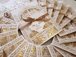 Lasercut beautiful gatefold White Gold Wedding invitation Sydney Australia with custom name tag