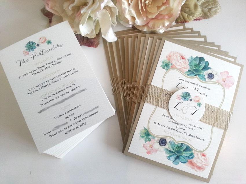 Floral succulent gold blush green wedding invitation sydney Australia belly band.jpg