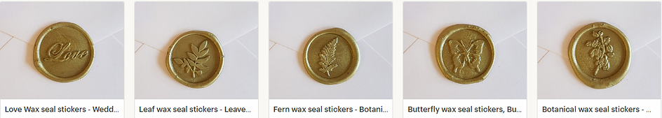 Wedding wax seal stickers, Love, Leaf, Fern, Butterfly, Botanica Wax seal stickers