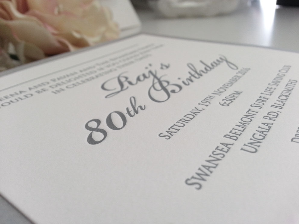 80th Birthday invitations letterpress Silver Sydney Australia.jpg