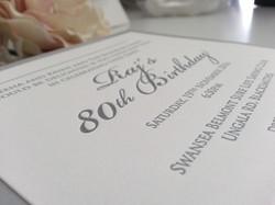 80th Birthday invitations letterpress Silver Sydney Australia.jpg