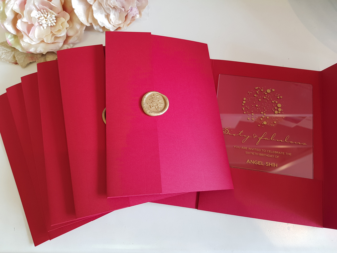 60 Birthday invitation - Gold clear Acry