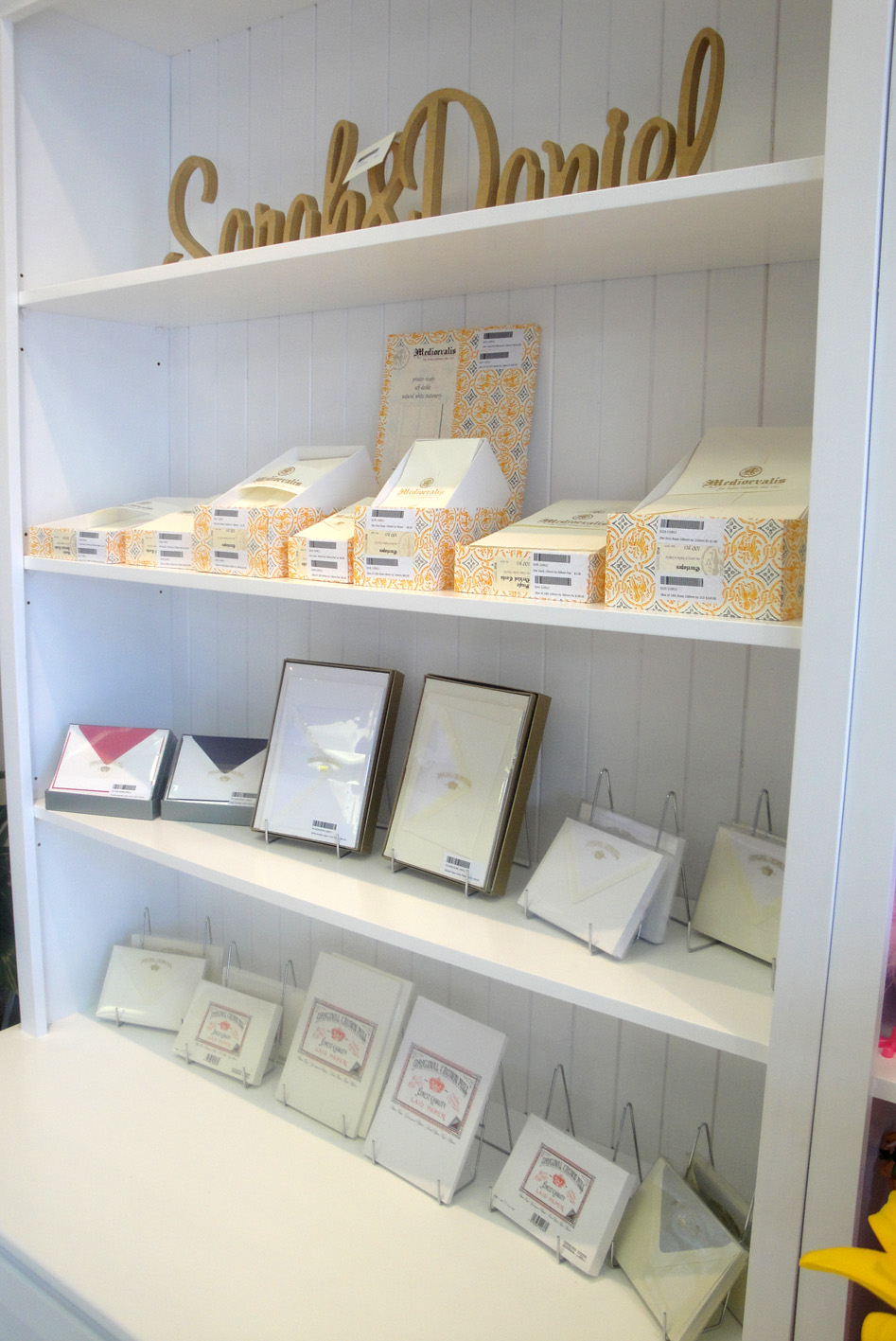 Stationery set on display
