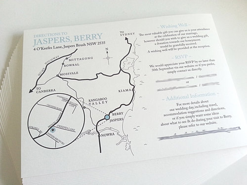 Wedding Invitation Shops Sydney: Custom Wedding Map Sydney
