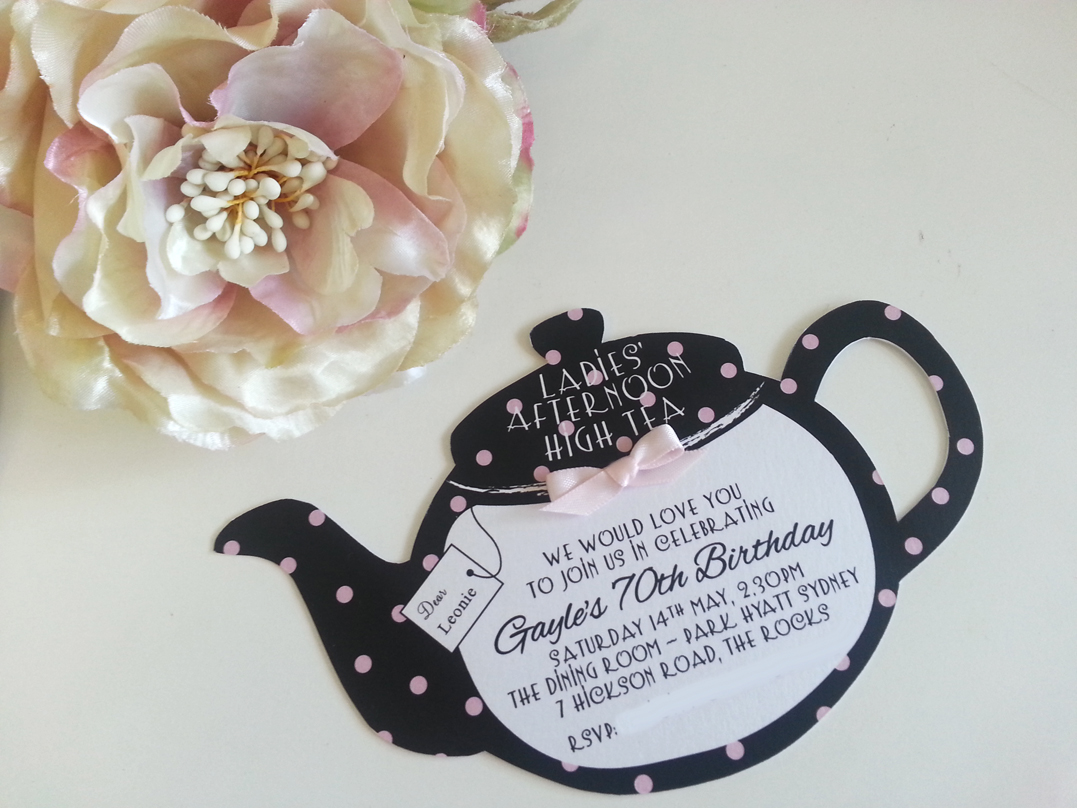 Kitchen Tea Teapot 70th Birthday High Tea Invitations Sydney Black and Pink Australia.jpg