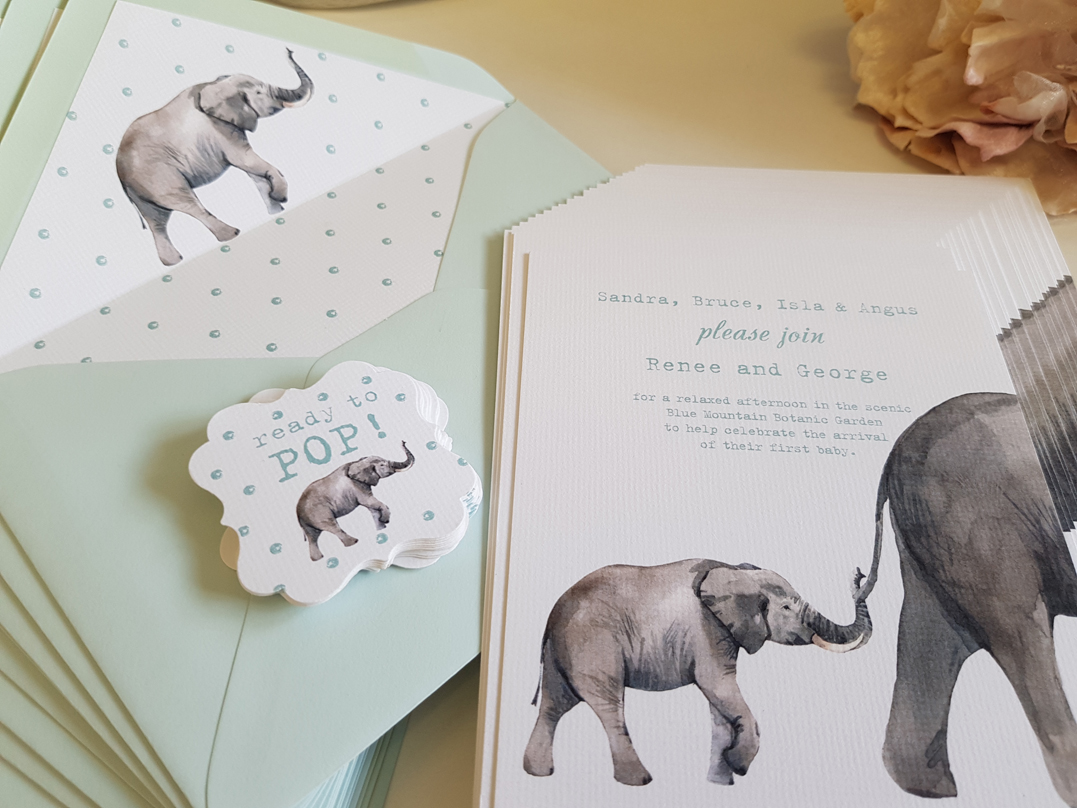 Baby Shower Elephant mother and baby inv