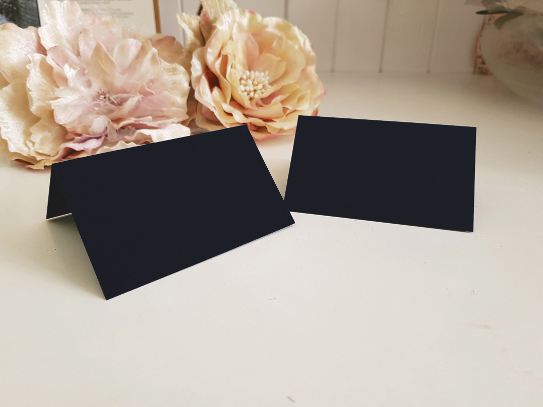 Blank Black Wedding place cards Name car