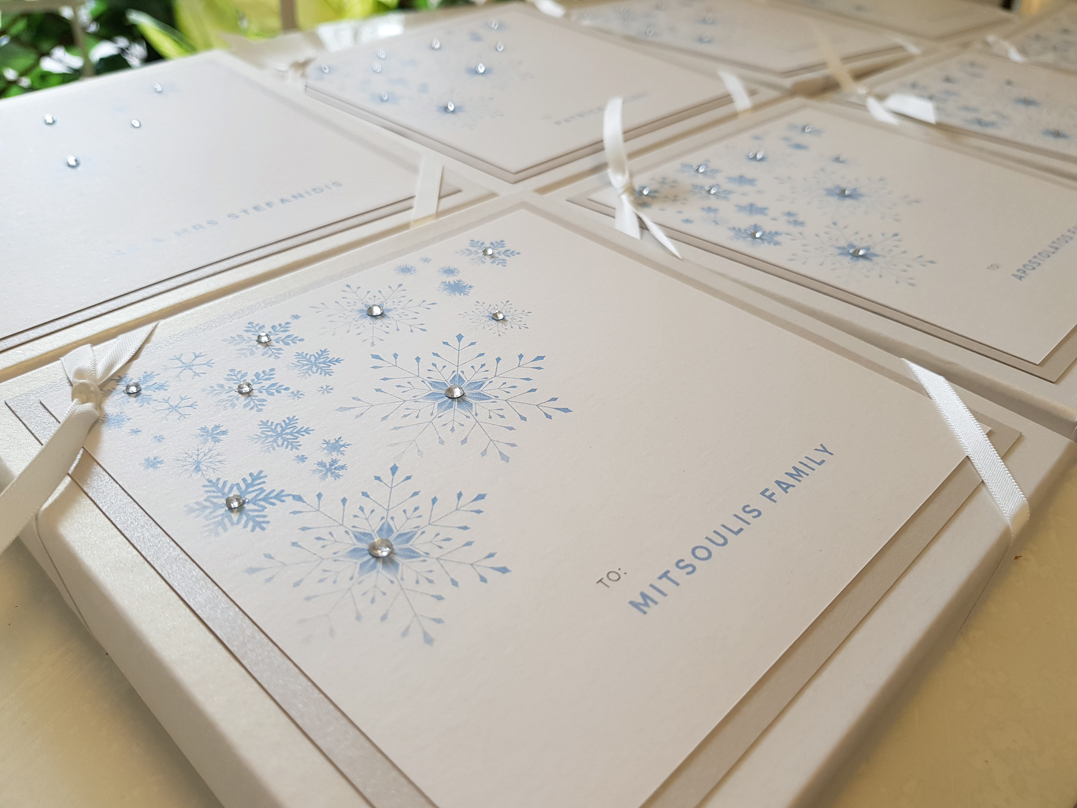 Frozen Invitation in Box White and blue